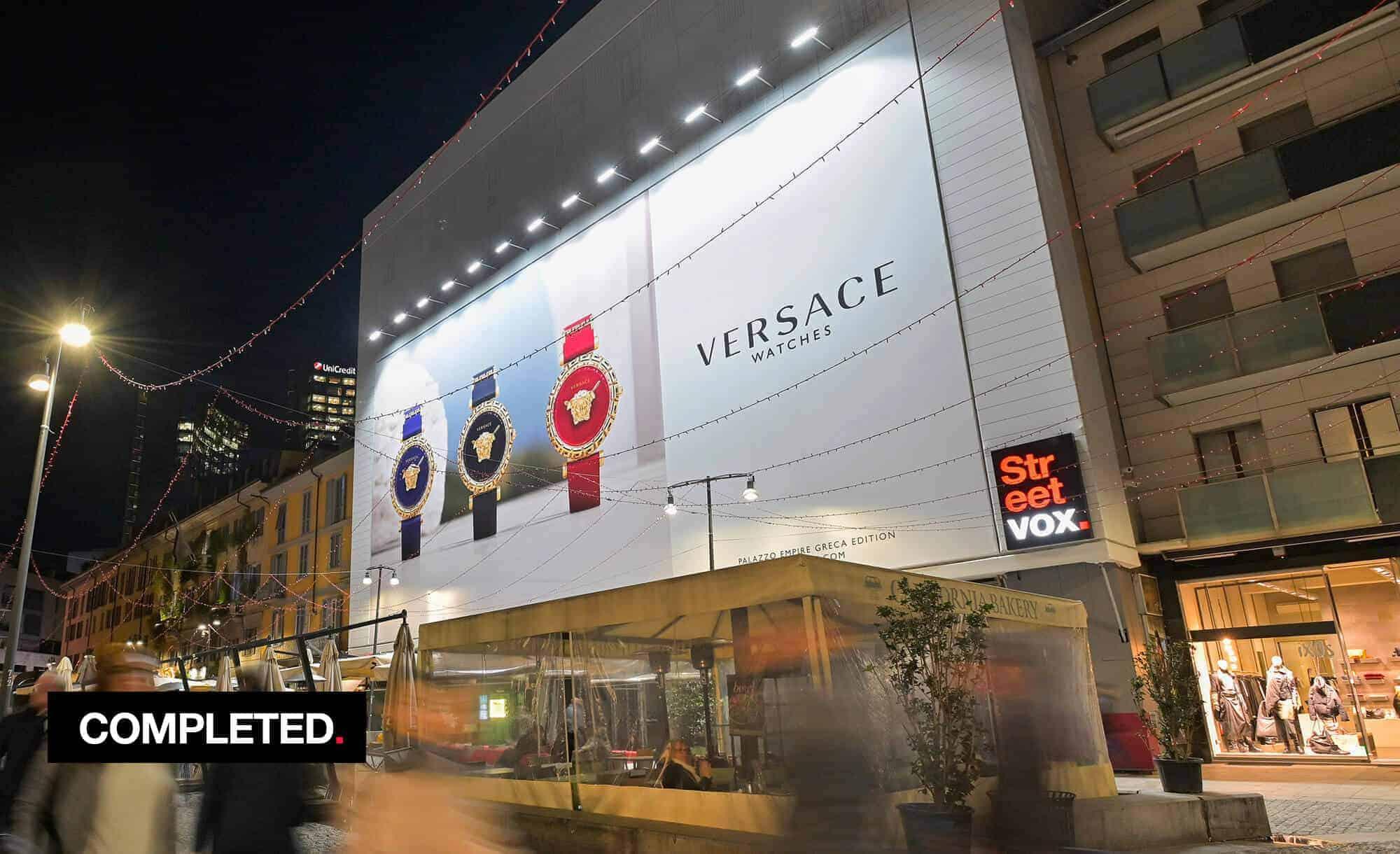 Maxi Affisione a Milano in Corso Como 6 con Versace Watches (Luxury)