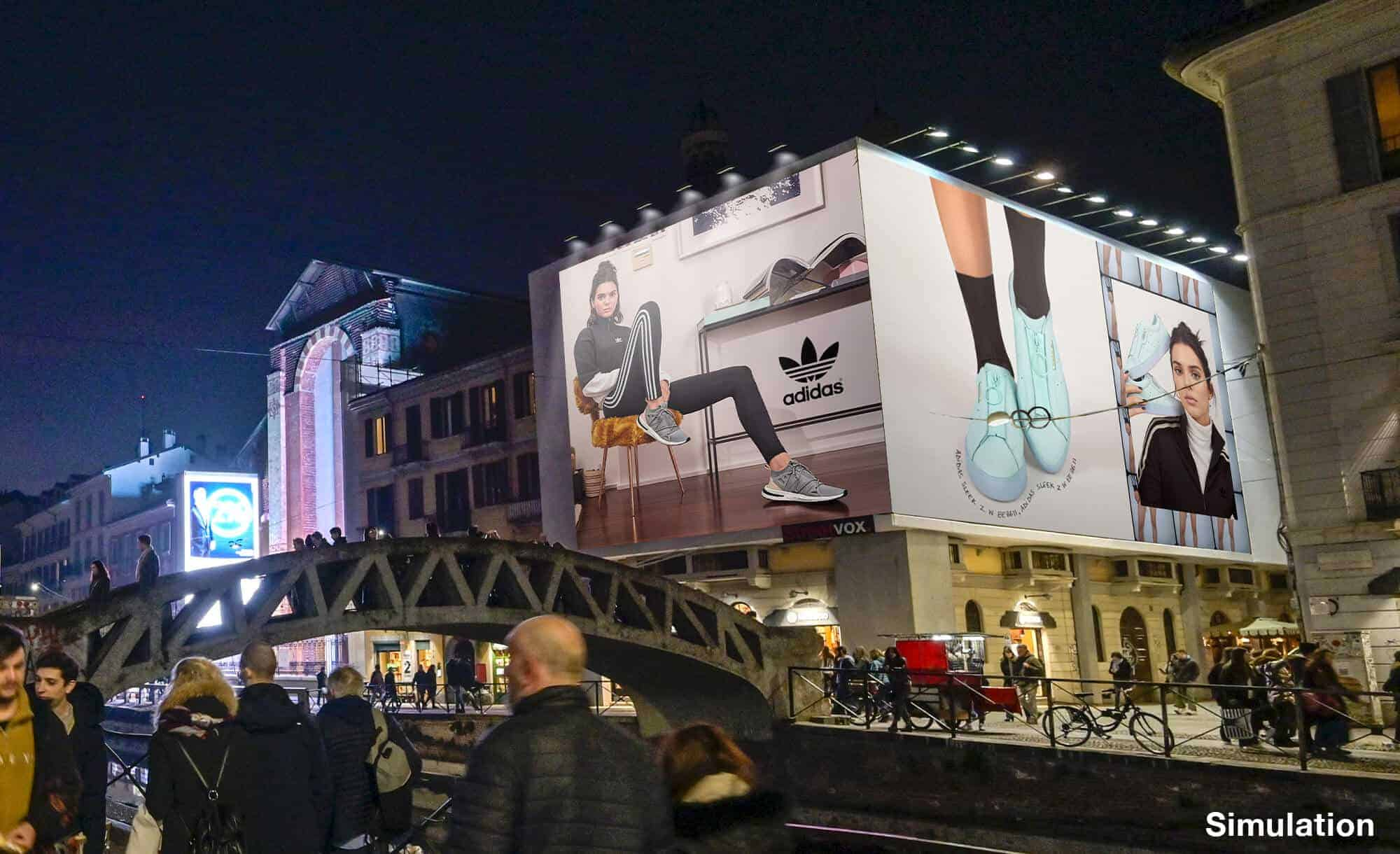 Maxi Affissione a Milano in Via Corsico 12 Navigli di Adidas (moda)