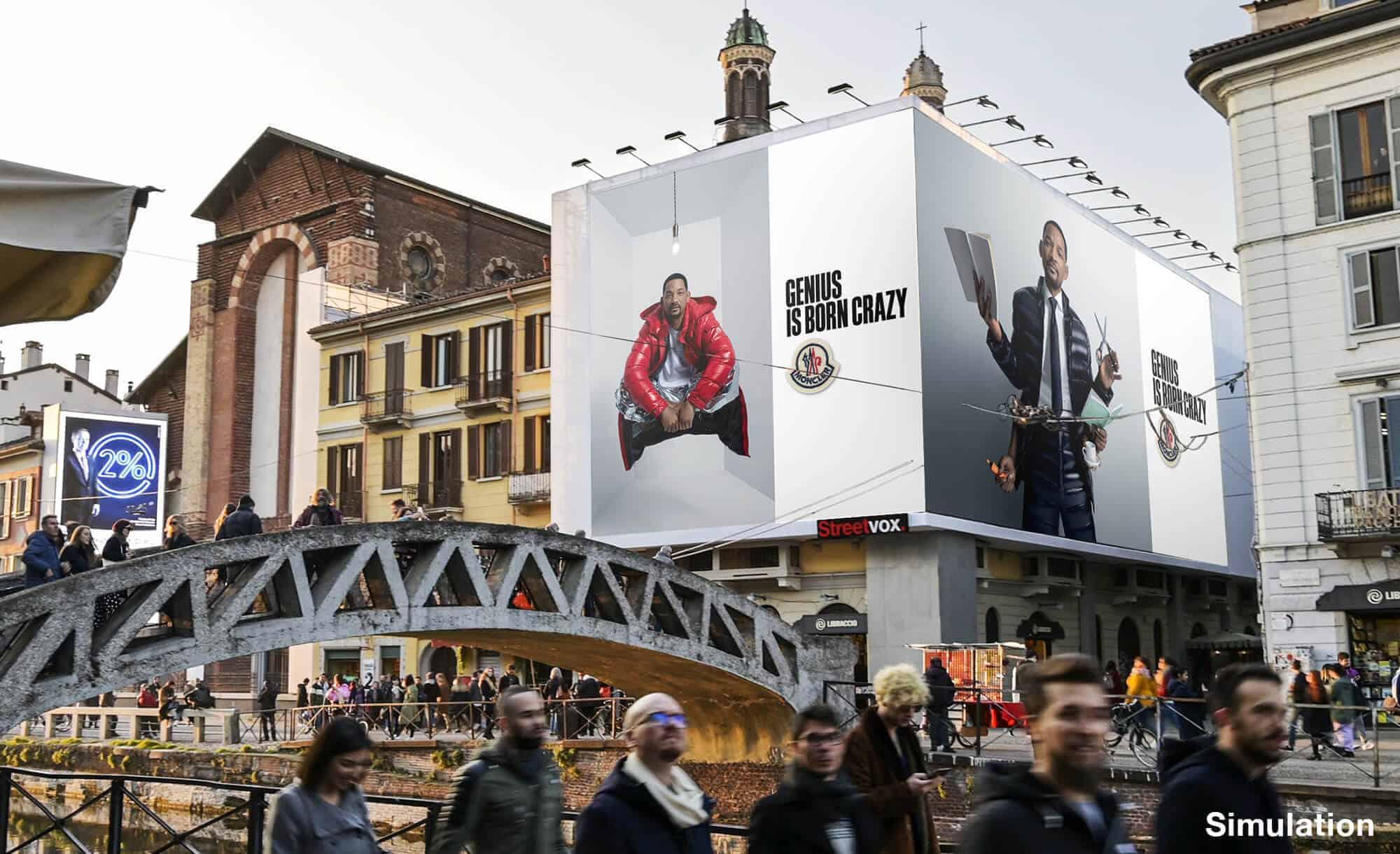 Maxi Affissione a Milano in Via Corsico 12 Navigli di Moncler (moda)