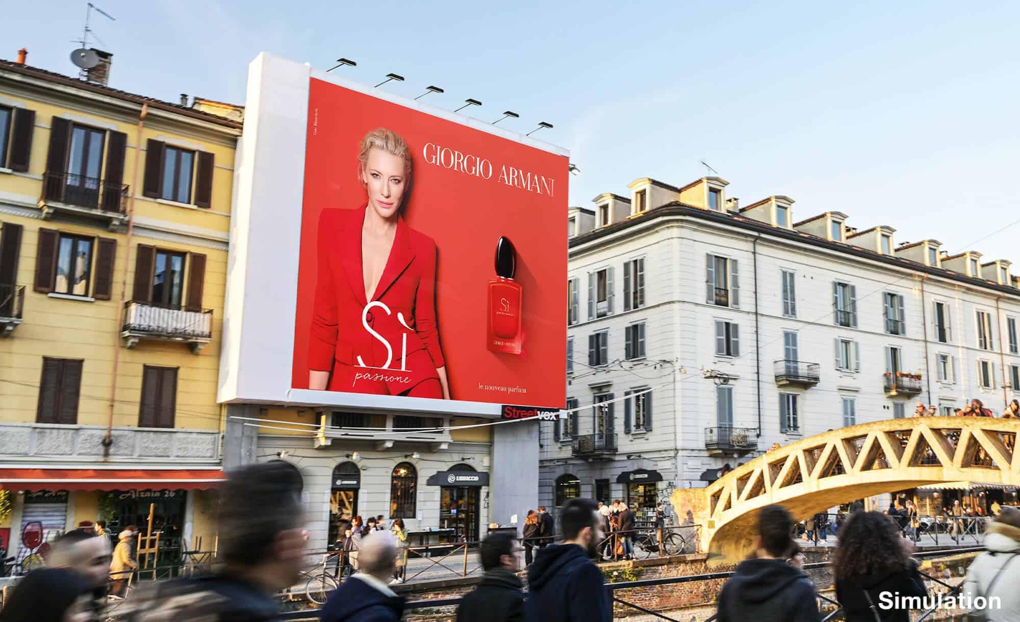 Maxi Affissione a Milano in Via Corsico 12 Navigli di Armani (moda)