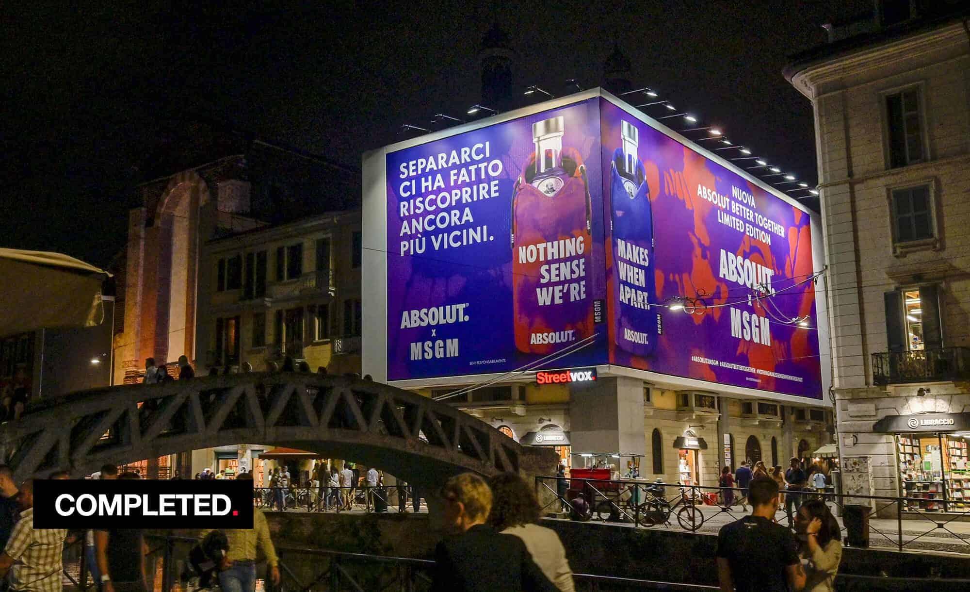 Maxi Affissione Streetvox in Via Corsico 12 sui Navigli a Milano con Absolut MSGM (beverage and fashion)
