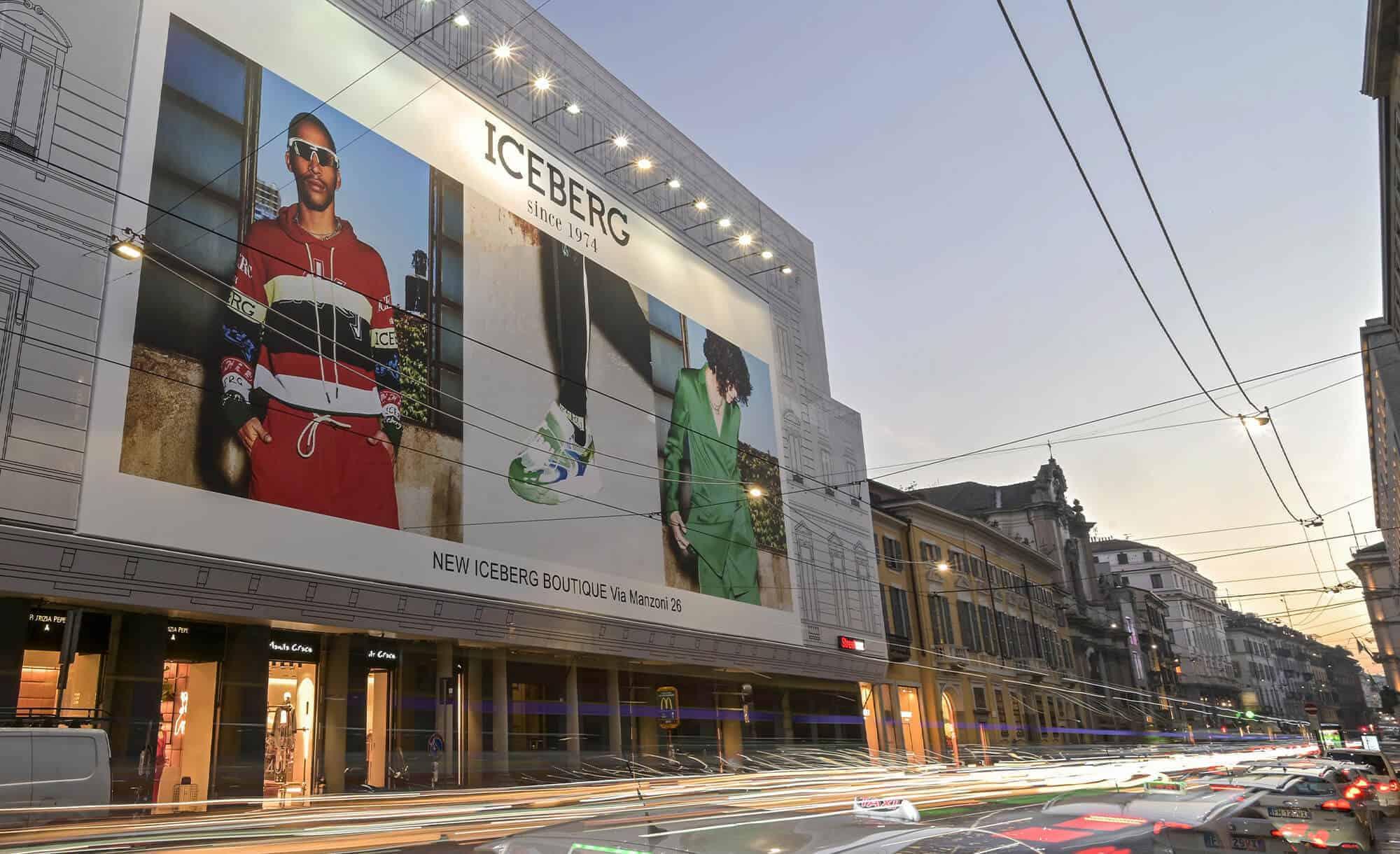 Maxi Affissione Streetvox Via Manzoni 38 a Milano con Iceberg (Moda)