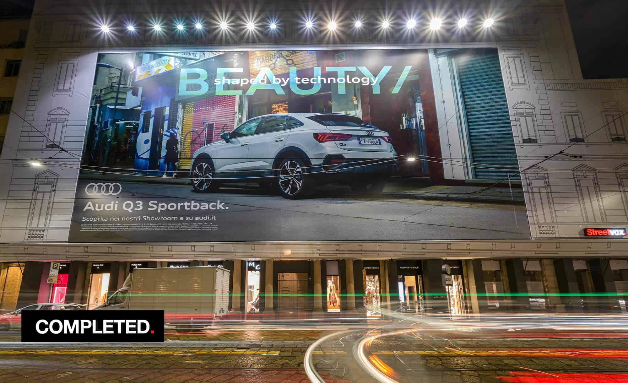 Maxi Affisione a Milano in Via Manzoni 38 di Audi (Automotivet)