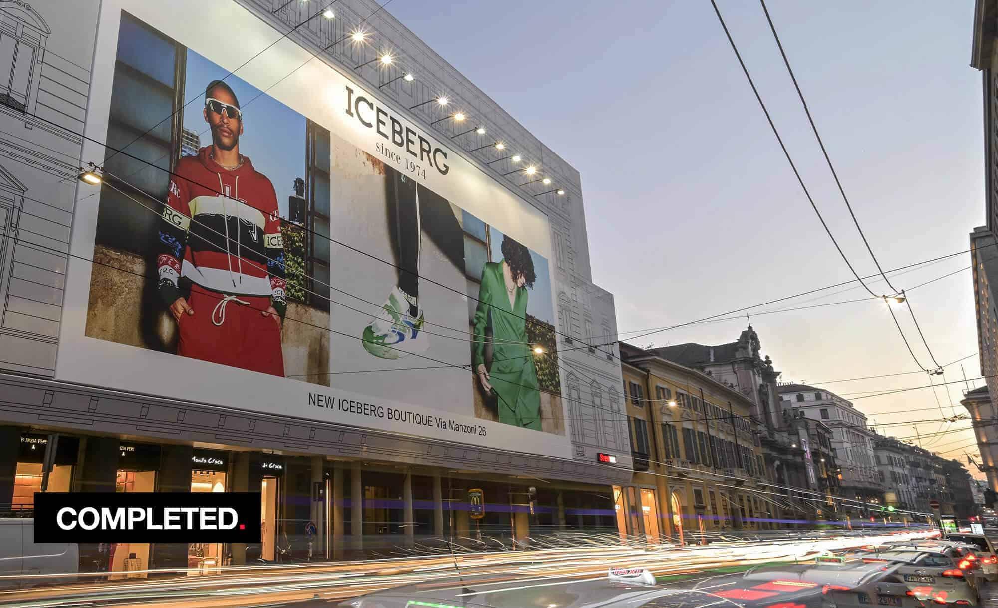 Maxi Affisione a Milano in Via Manzoni 38 di Iceberg (fashion)