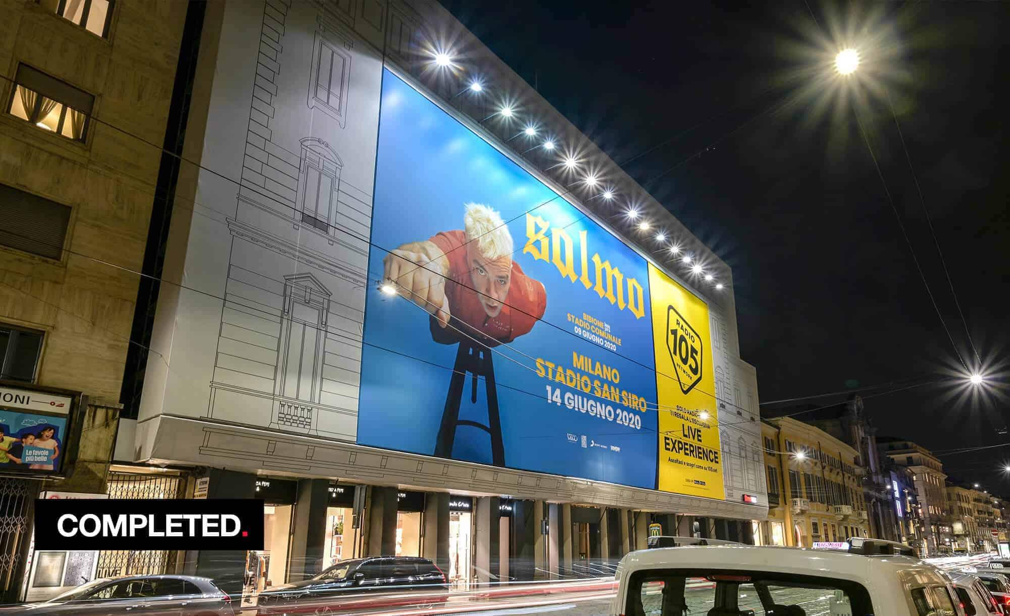 Maxi Affisione a Milano in Via Manzoni 38 di Radio 105 Salmo (Entertainment)
