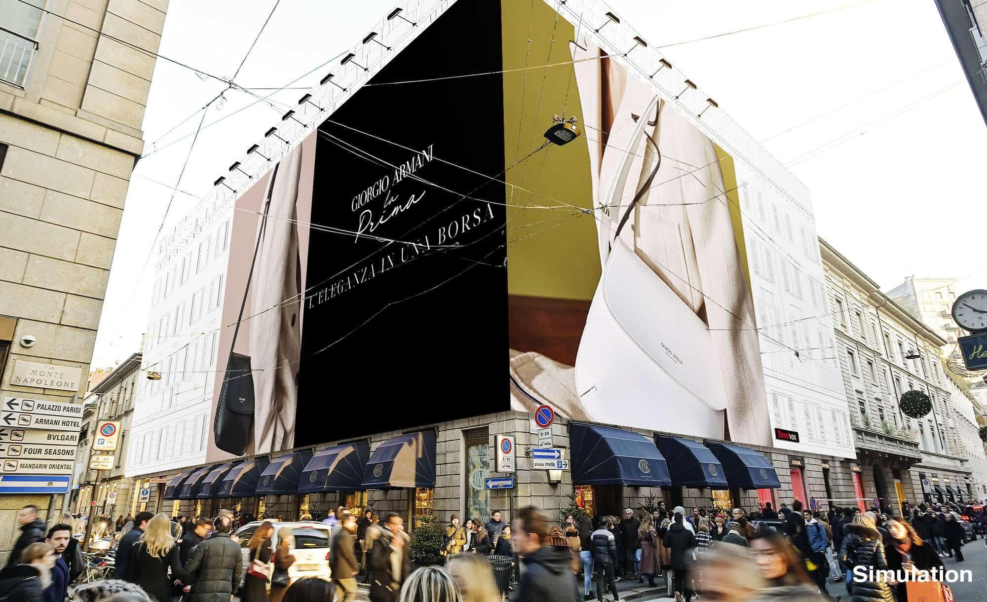 Maxi Affissione Streetvox Via Monte Napoleone 8 a Milano con Armani (Fashion)
