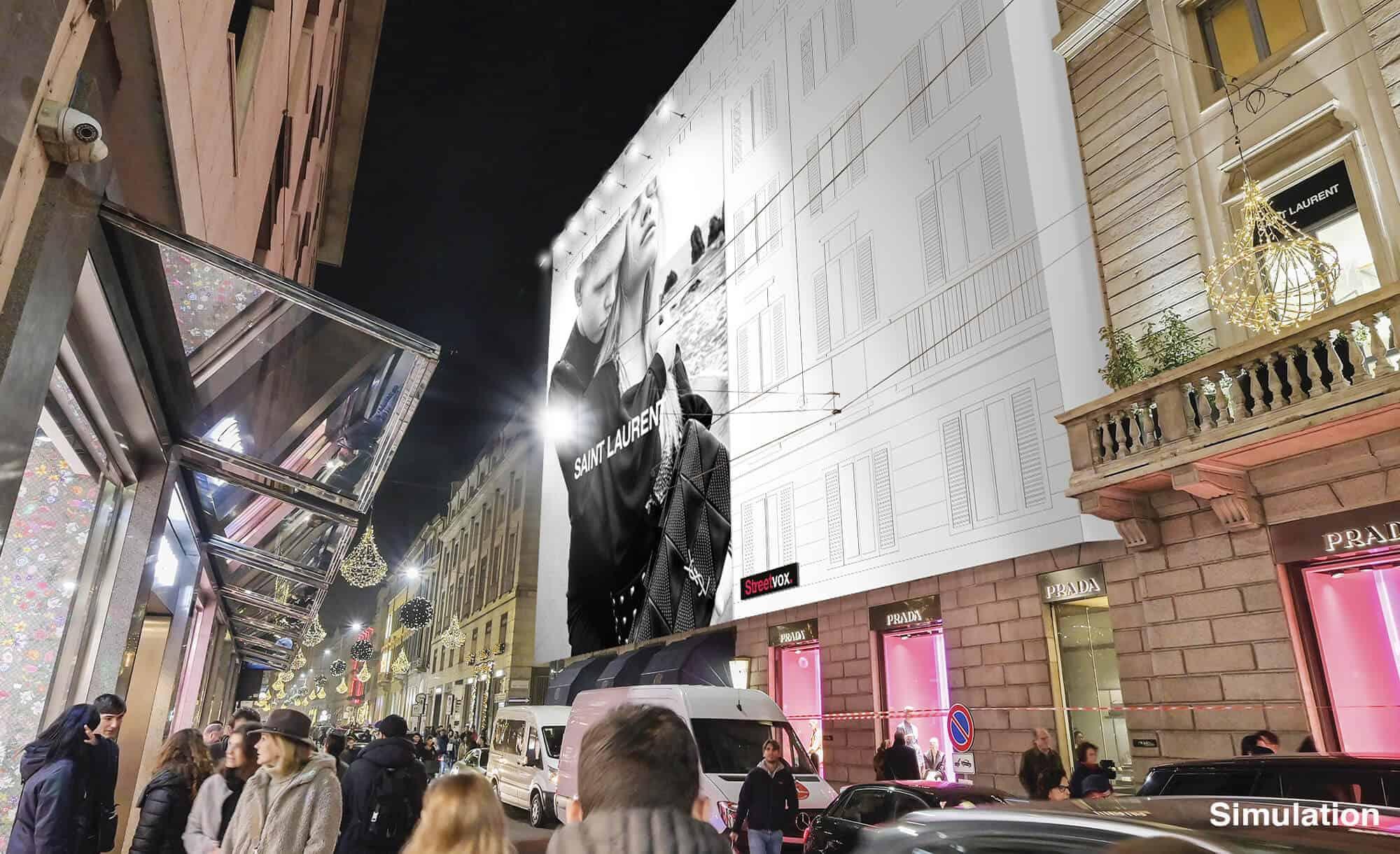 Maxi Affissione Streetvox Via Monte Napoleone 8 a Milano con Saint Laurent (Fashion)