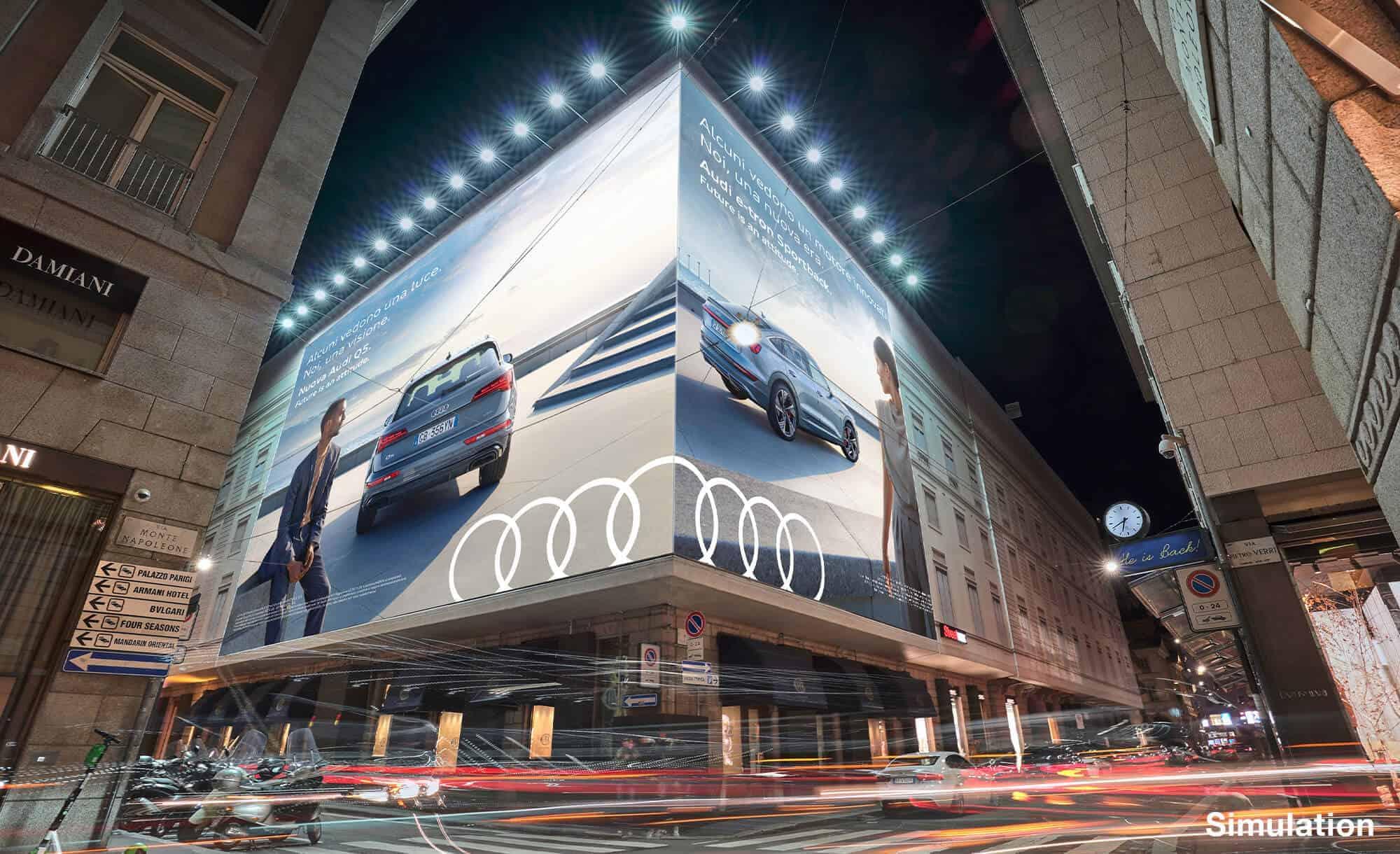 Maxi Affissione Streetvox Via Monte Napoleone 8 a Milano con Audi (Automotive)