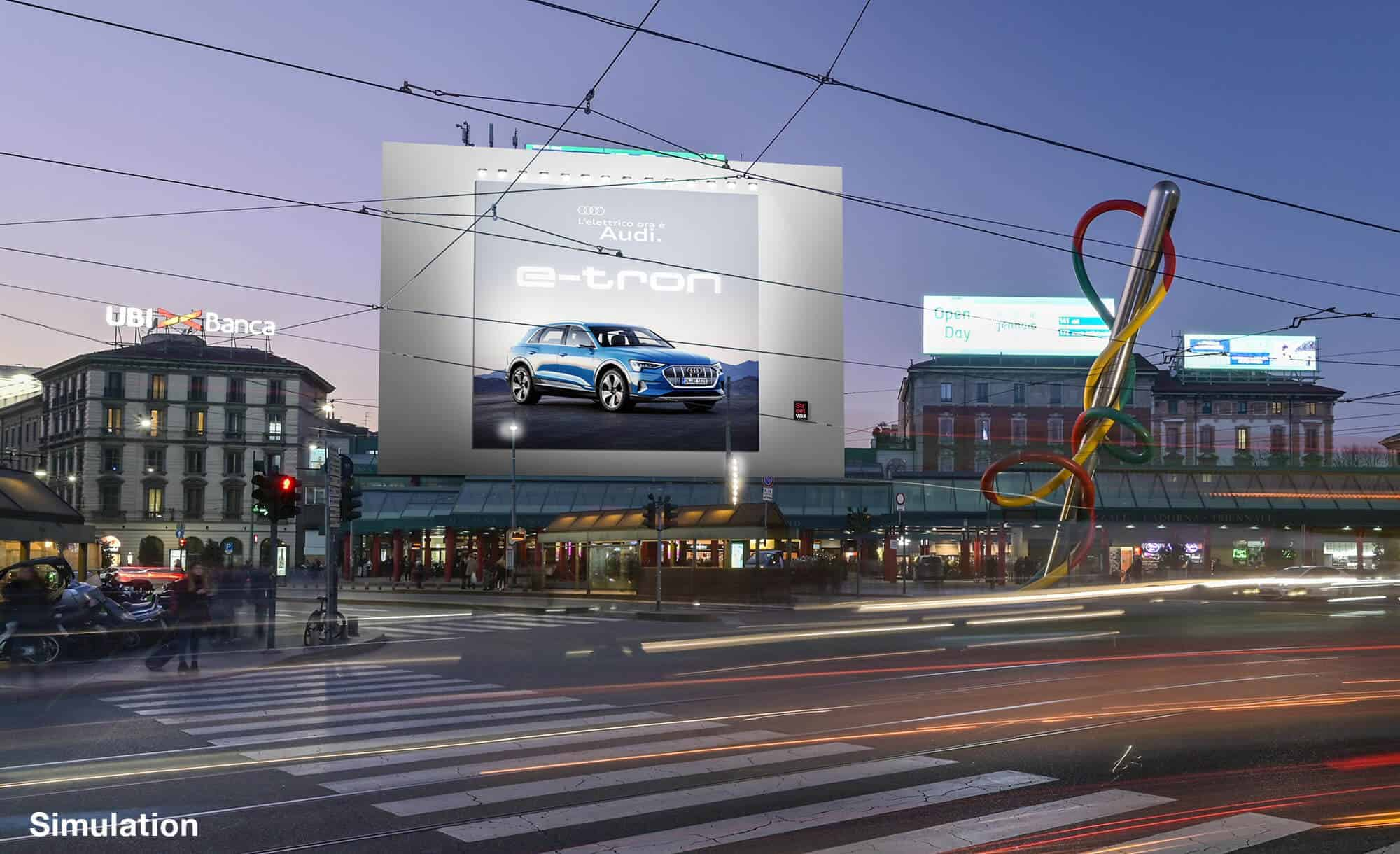 Maxi Affissione a Milano in Piazza Cadorna di Audi (automotive)
