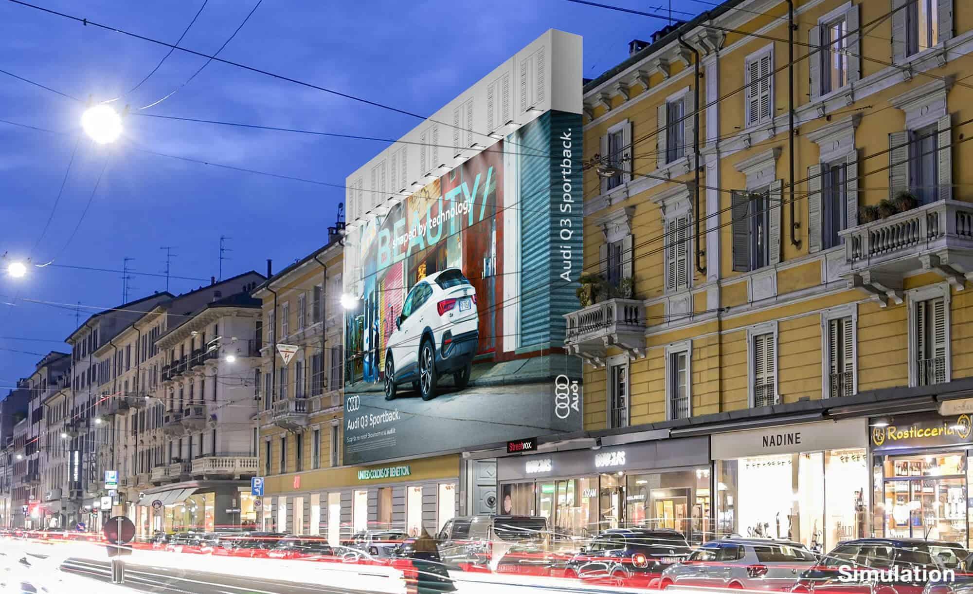 Maxi Affissione a Milano in Corso Vercelli 8 di Audi (automotive)