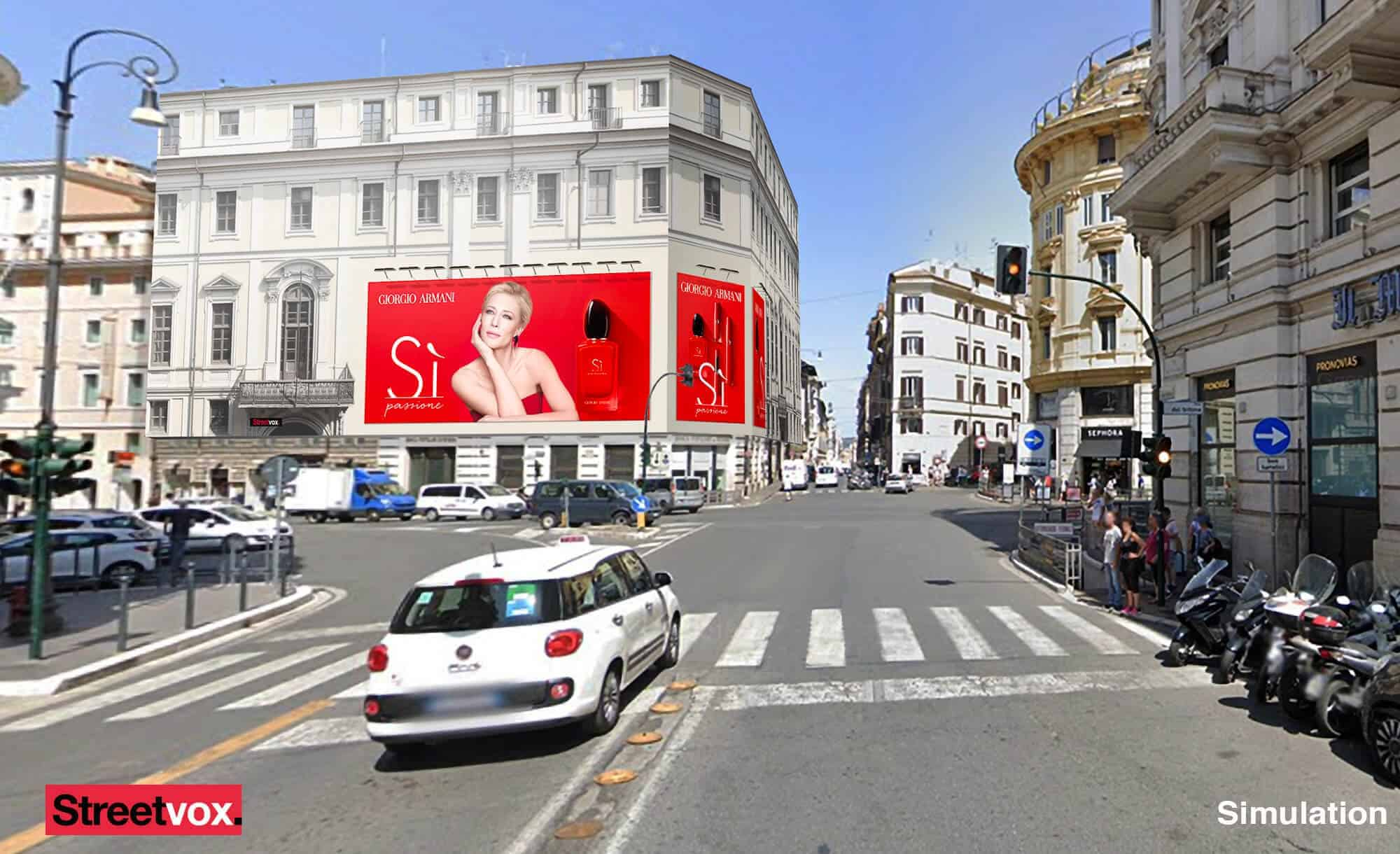 Maxi Affissione Streetvox in Via Tritone 66 a Roma con profumo