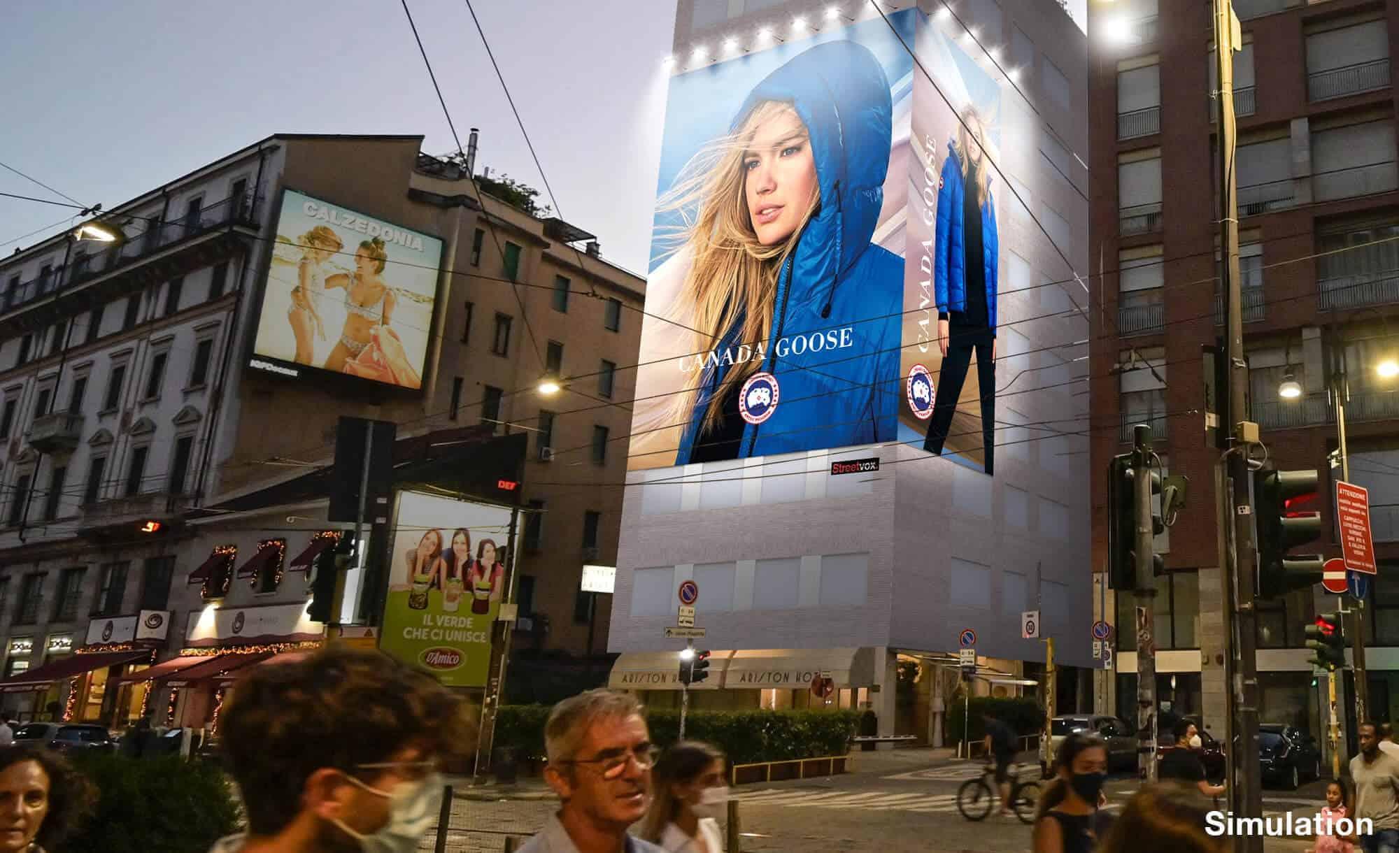 Maxi Affissione Streetvox in Largo Carrobbio su Hotel Ariston a Milano con Canada Goose (Fashion)
