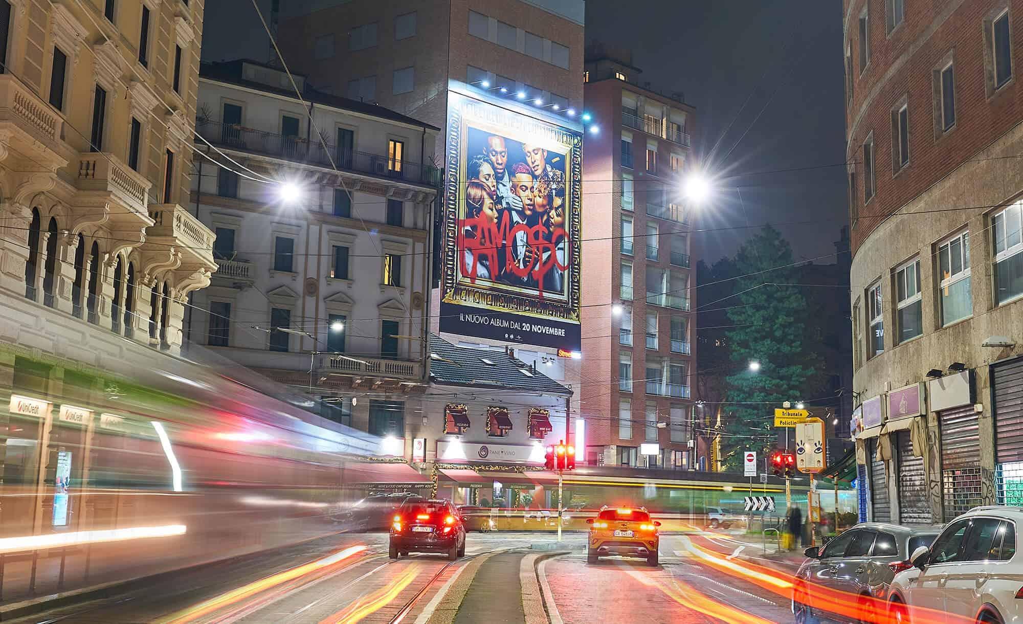 Maxi Affissione Streetvox in Largo Carrobbio su Hotel Ariston a Milano con Sfera Ebbasta Universal (music)