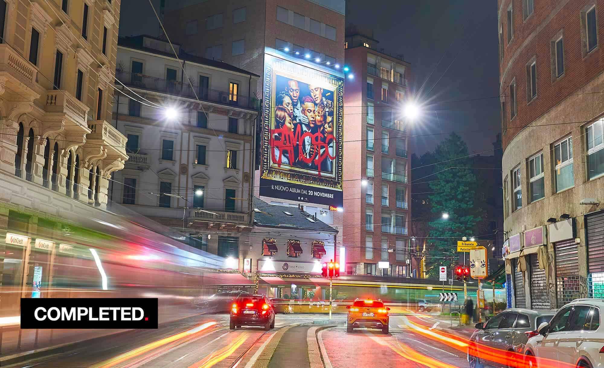 Maxi Affissione a Milano in Largo Carrobbio con Universal Music e Sfera Ebbasta (Entertainment)