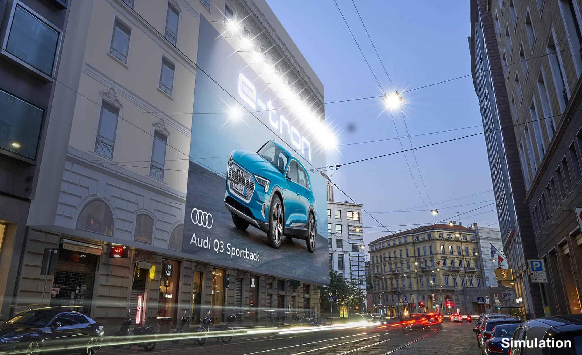 Maxi Affisione a Milano in Piazza Cavour 5 con Audi (Automotive)