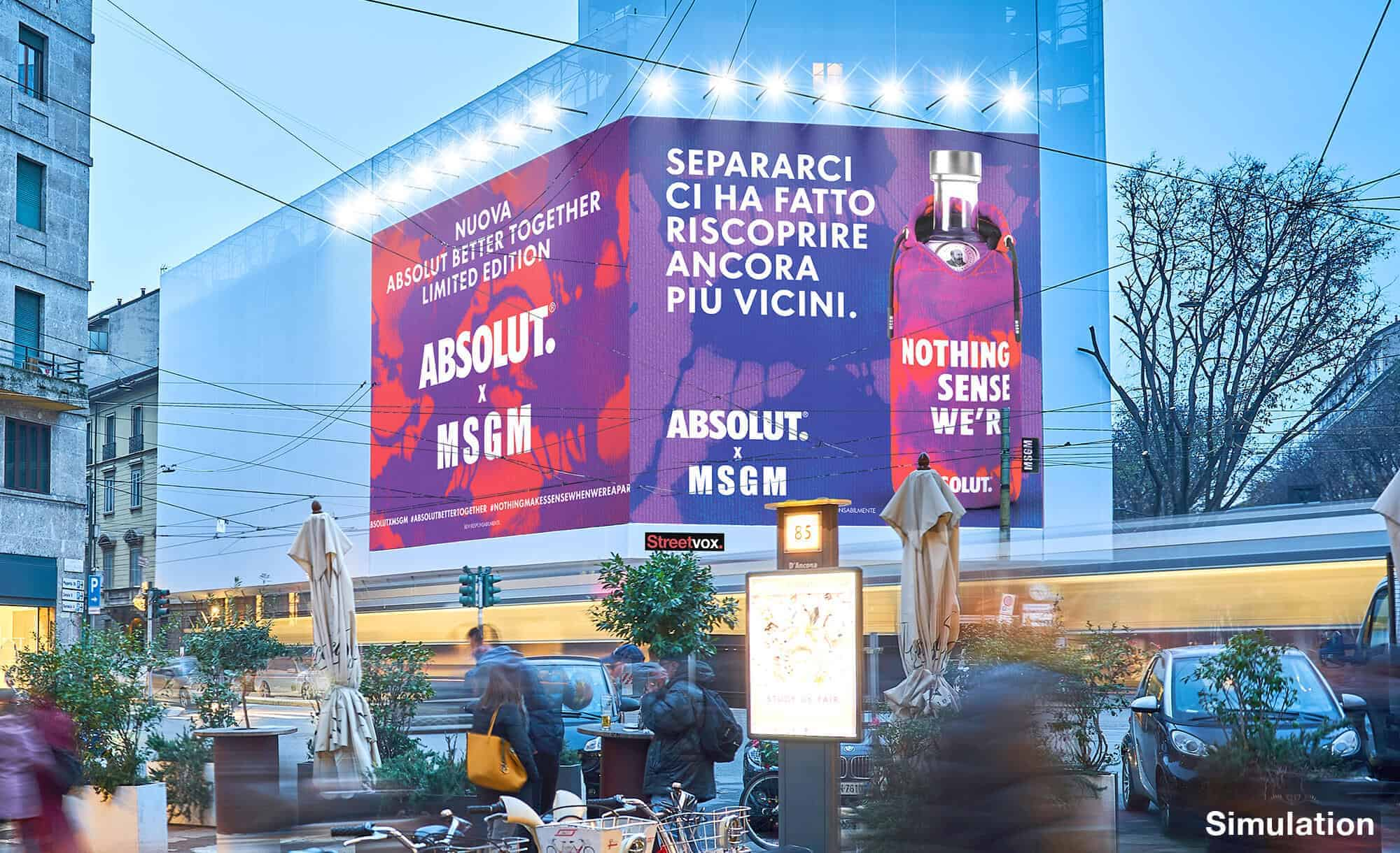 Maxi Affisione a Milano in Corso Magenta 42 con Absolut e MSGM (Beverage and Fashion)