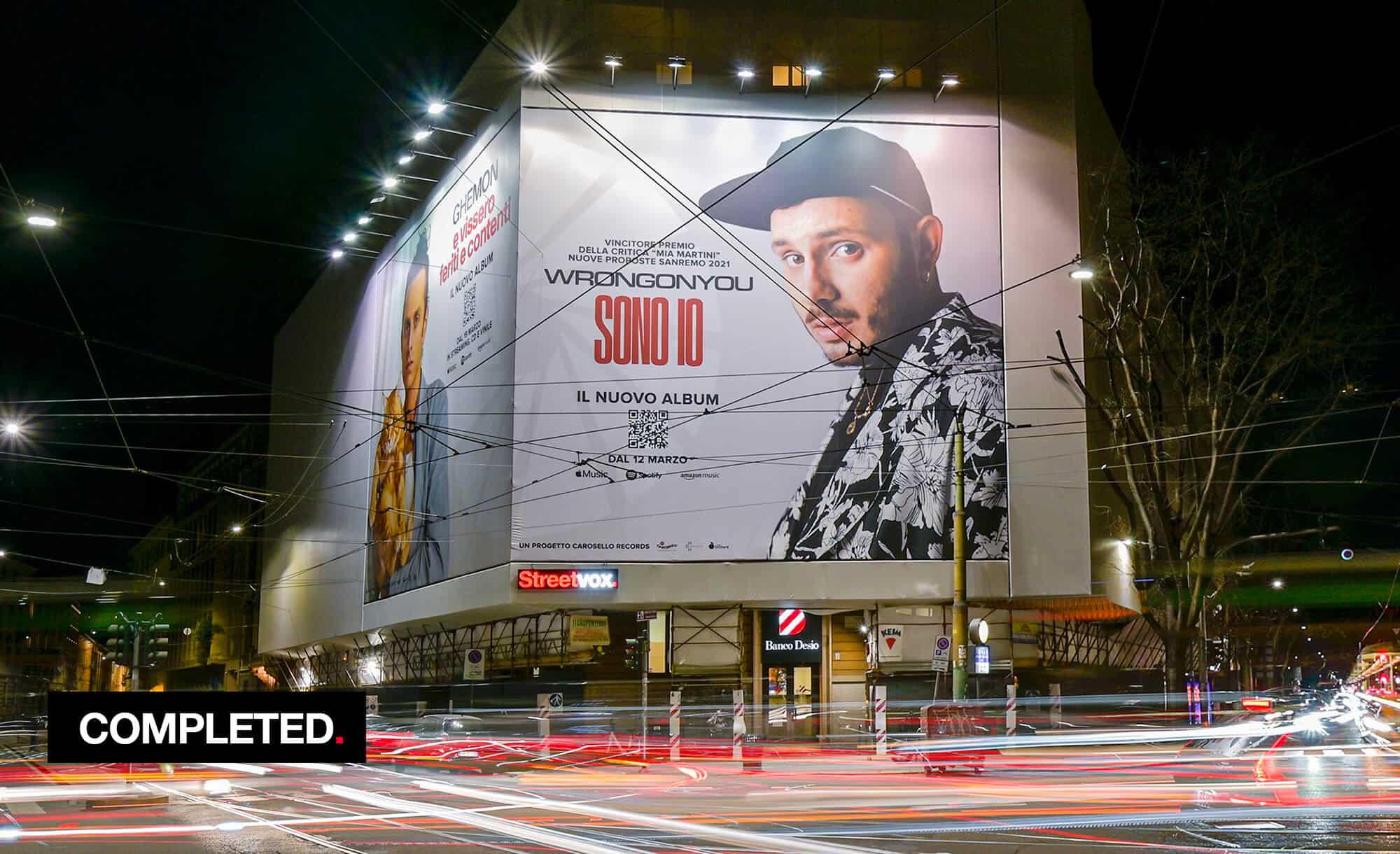 Maxi Affissione a Milano in Corso Magenta 42 con Carosello Records Ghemon e Wrongonyou (Entertainment)