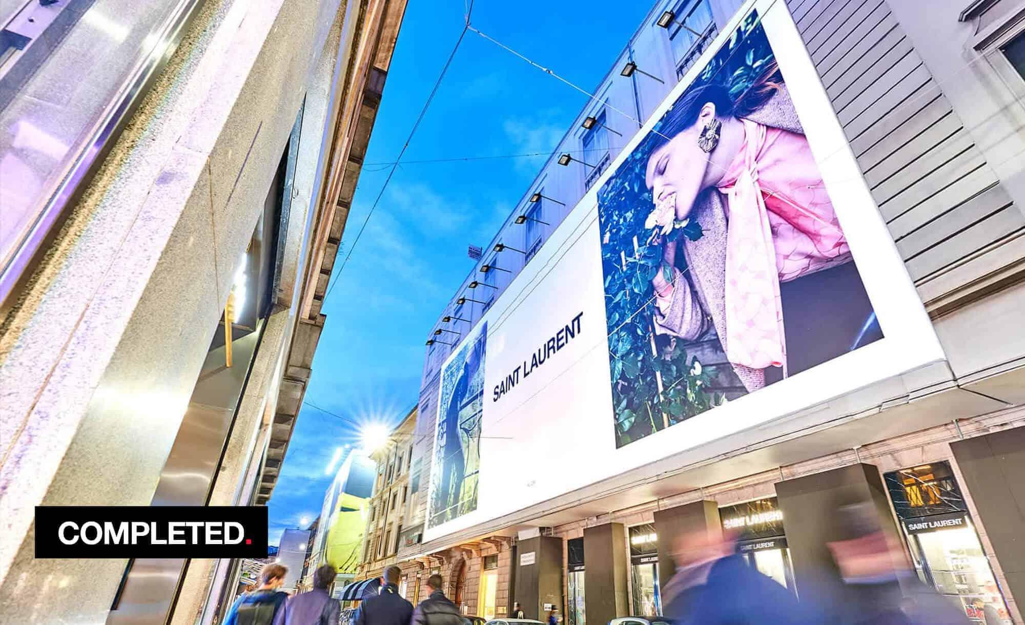 Maxi Affissione Streetvox in Via Monte Napoleone 8 con YSL Saint Laurent (fashion)