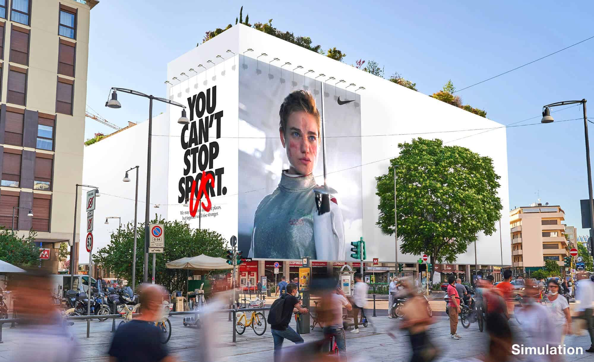Maxi Affissione a Milano in Via Moscova 58 con Nike (Sportswear)