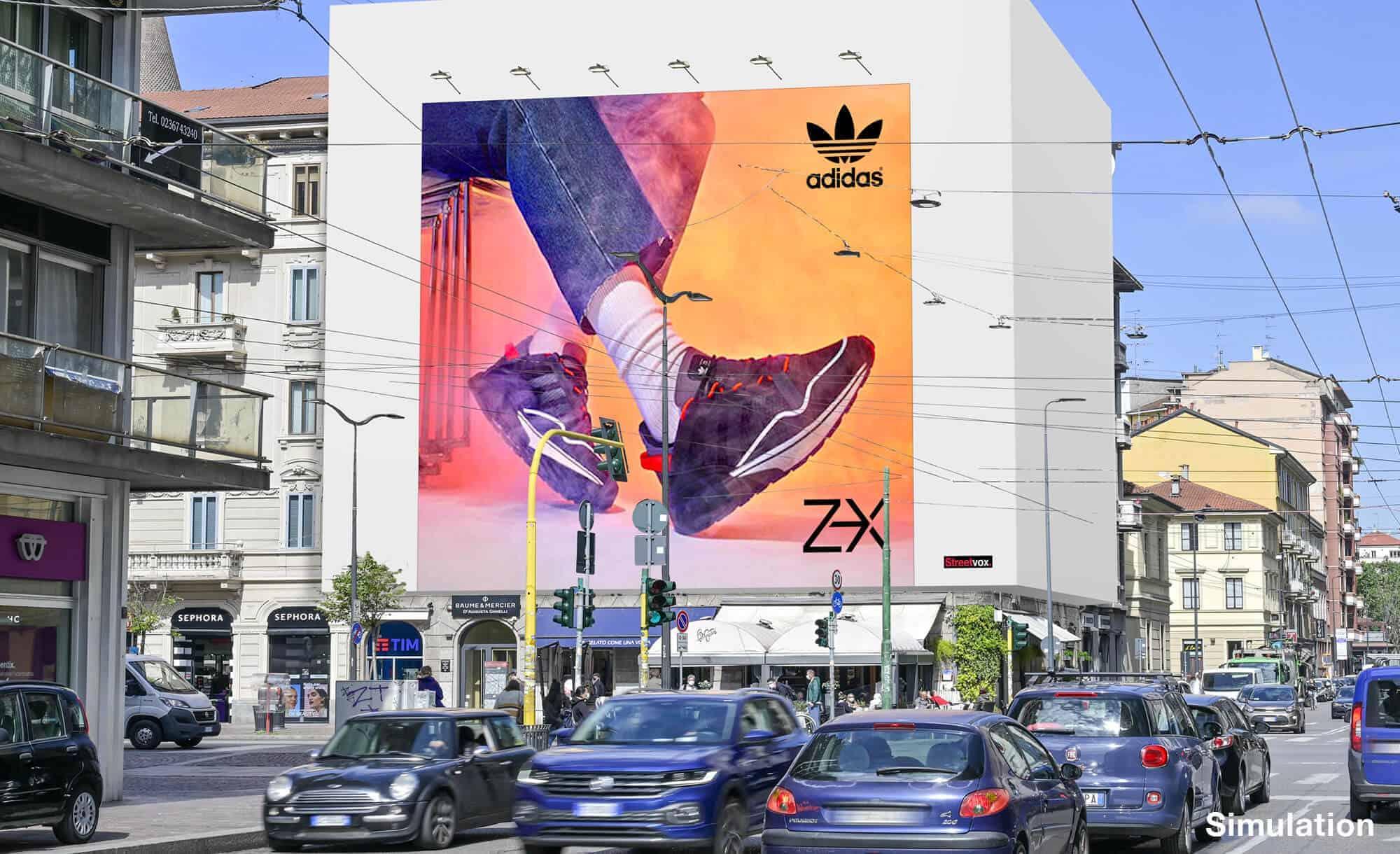 Maxi Affissione a Milano in Via Palestrina 1 con Adidas (Sportswear)