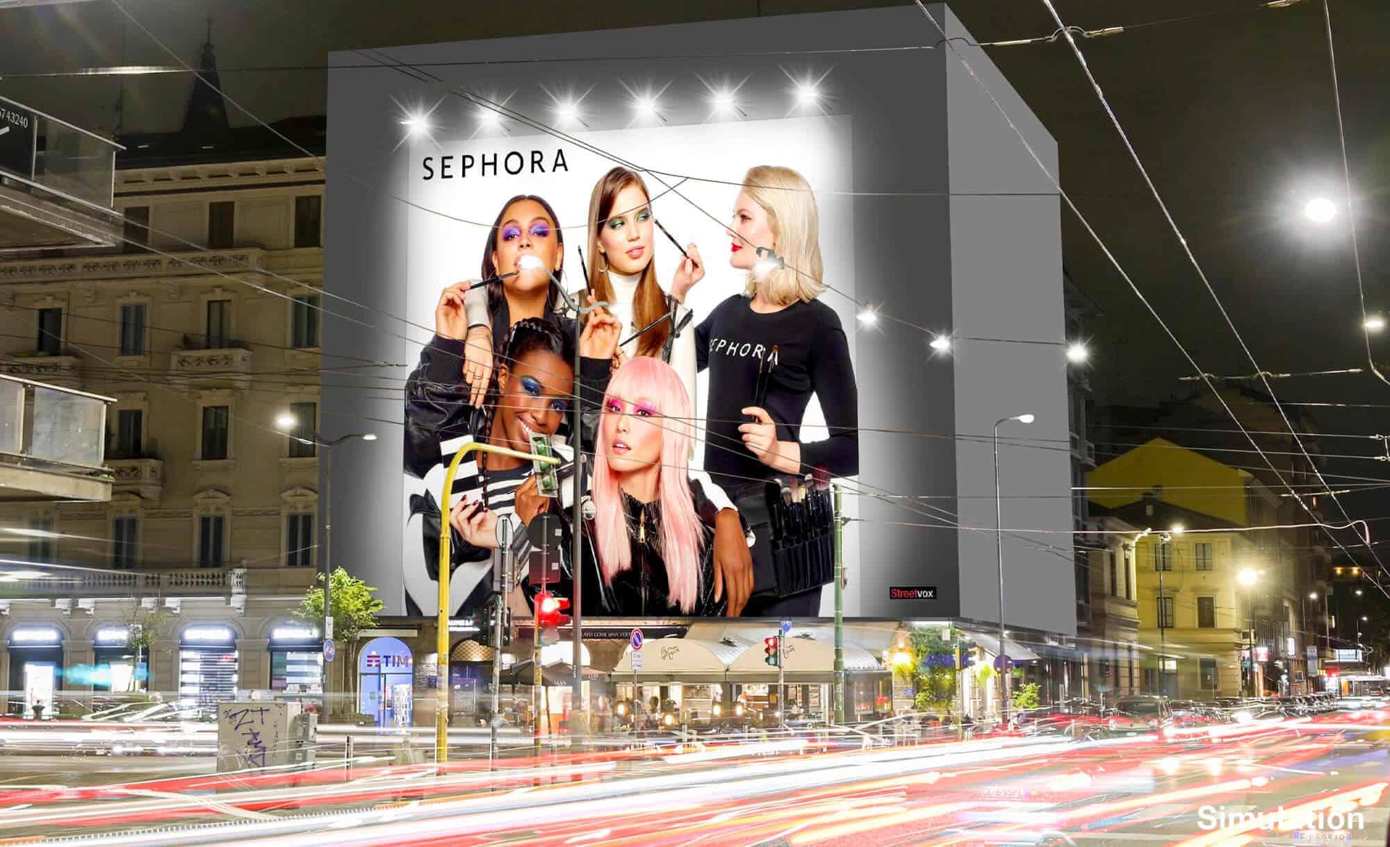 Maxi Affissione a Milano in Via Palestrina 1 con Sephora (Beauty)