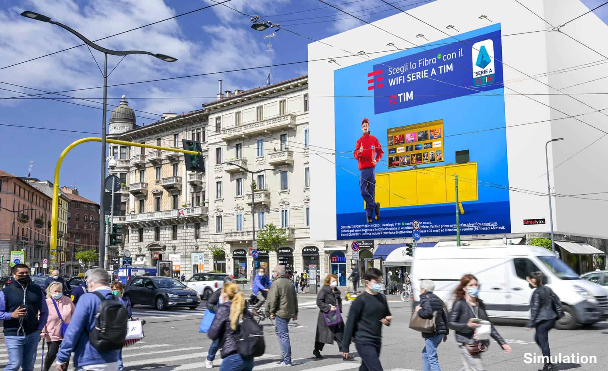 Maxi Affissione a Milano in Via Palestrina 1 con TIM (telco)