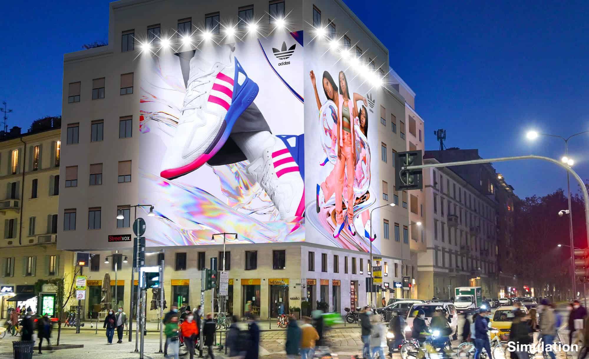 Maxi Affissione a Milano in Piazza XXV Aprile 1 con Adidas (Sportswear)