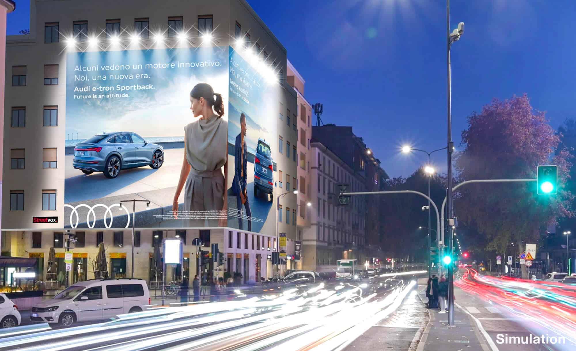 Maxi Affissione a Milano in Piazza XXV Aprile 1 con Audi (Automotive)