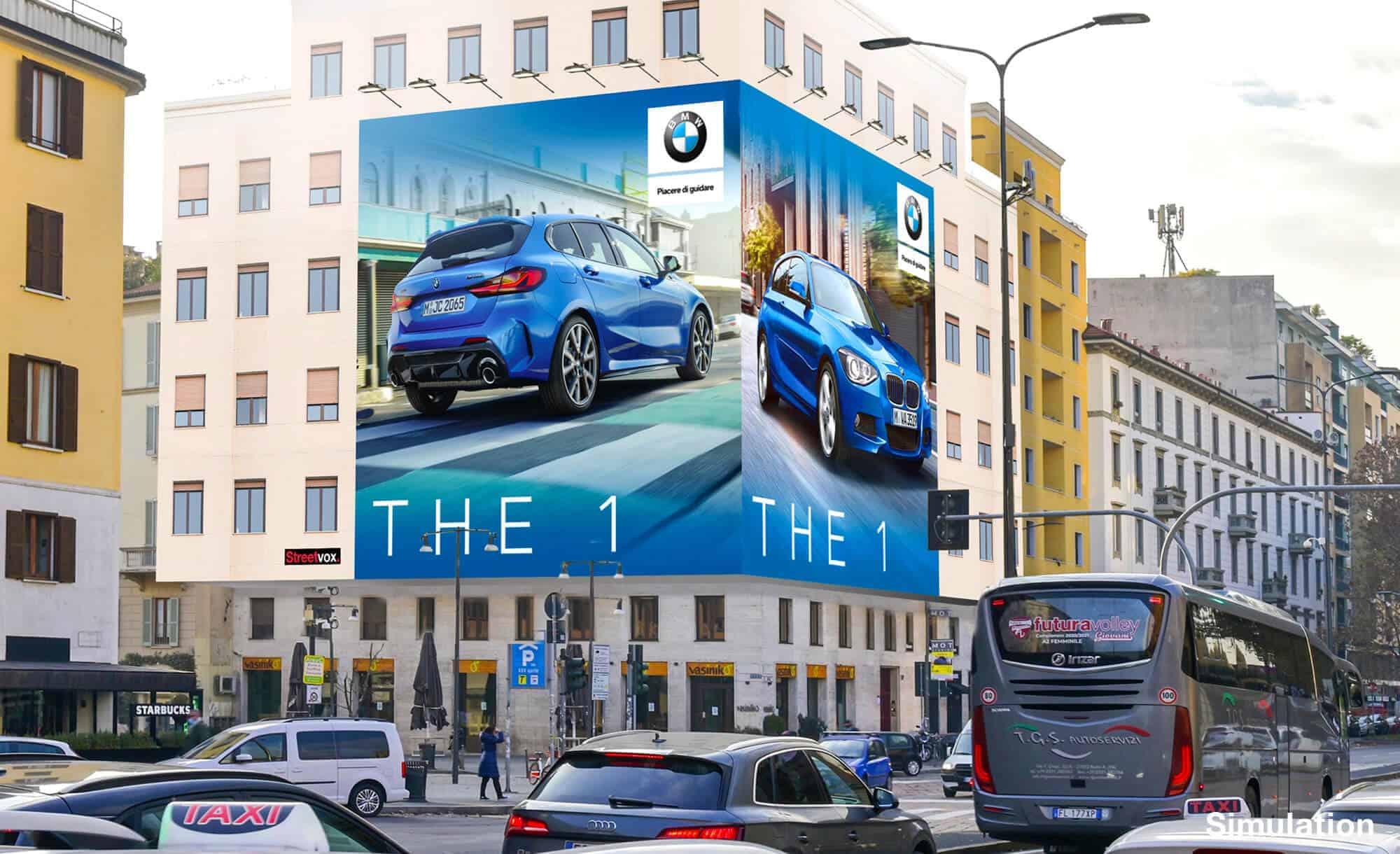 Maxi Affissione a Milano in Piazza XXV Aprile 1 con BMW (Automotive)
